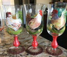 Crystal Water Goblets Hand Painted Chicken/Rooster Sunflower Designs Set of 3