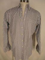 Peter Millar Nanoluxe Mens White Check Long Sleeve Cotton Shirt L