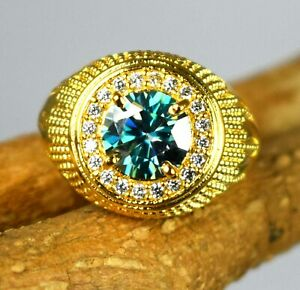 Green Diamond  4.27 Ct Round Solitaire Gold Finish Men's Ring