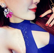Lady Fashion Charm Crytal Drop Leaves Flower Dangle Statement Ear Stud Earring