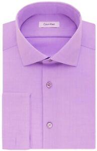 Calvin Klein Men's 100% Cotton Dress Shirt Slim Fit Solid French Cuff 33SPO
