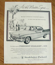 1958 Studebaker President Starlight Ad The Hawk
