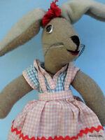 Artist Stuffed Bunny Rabbit Doll 16in Felted Wool Fabric Glass Eyes Germany Vtg