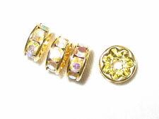 100 Swarovski Rhinestone Rondelles Spacer Beads 5mm Gold / Crystal AB (F)
