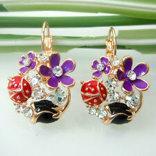 Navachi Bug Ladybug Flower Rose Enamel 18K GP Crystal Leverback Earrings BH2679