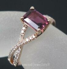 Solid 14K Rose Gold Natural Pink Tourmaline Engagement Diamonds Wedding Ring