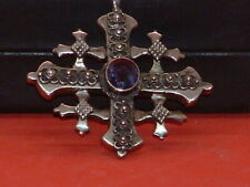 Pre-Owned Jerusalem Amethyst Stone Silver Cross