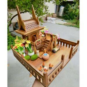 Spirit House Teak Wood Thai Handmade Mini Worship Modern Style