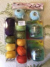 2 Lizbeth Specialty Packs Crochet Thread Lot + Thread Holders