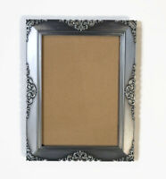 Fleur De Lis Scroll Pewter Photo Frame Holds 5x7 Picture Freestanding Silver
