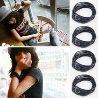 10 Stücke Schwarz Silikon Armband Elastische Gummi Bangles Haargumm D2R0 Ar R8N6