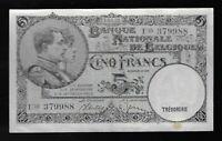 1938 5 Francs National Bank of Belgium Pick# 108 (CRISP)