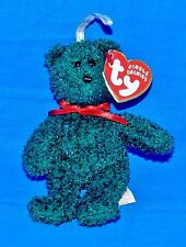 "Ty 2001 Holiday Teddy Green Bear Christmas (5"") Jingle Beanie 2002 Mw-Ct"