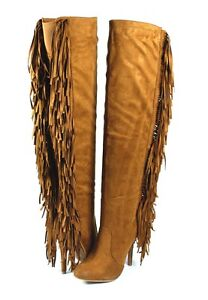 Tan HOT Turn Heads Sexy Flag Fringe Spine Trim Over the Knee Thigh High Boots