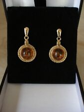 PAIR OF LARGE 9 CARAT GOLD AMBER DROP EARRINGS MADE IN ENGLAND BRAND NEW IN BOX