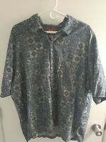 Pau Hana Hawaiian short sleeve button down Blue Tropical Print Mens 3XL