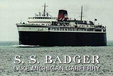 S.S. Badger, Lake Michigan Ferry Ludington to Manitowoc Wisconsin, Ship Postcard