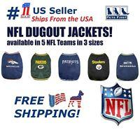 NFL Dugout Warm Jacket for Dogs & Cats - Licensed. 5 Football teams, 3 pet sizes