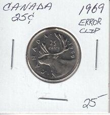 CANADA 25 CENTS 1969 ERROR CLIP