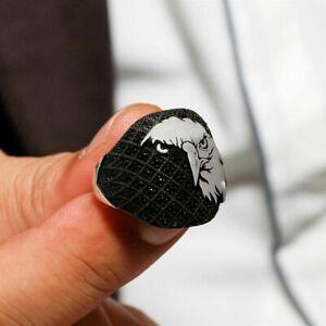 Solid Sterling 925 Silver Mens Jewelry Nano Black Zircon Eagle Men's Ring