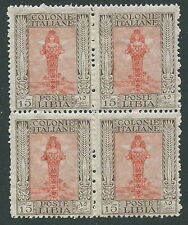 1924-29 LIBIA PITTORICA 15 CENT QUARTINA MNH ** - M50-9