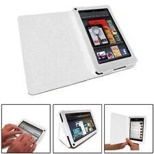Finta Pelle Bianco Folio LIBRO Wallet Stand Case Cover per Amazon Kindle Fire HD