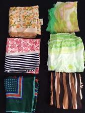 LOT 6 vintage head scarves scarf 70s MOD retro floral geometric sash belt