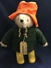 "Vtg English Paddington Bear Doll 20"" Orange Hat & Yellow Dunlop Boots England"