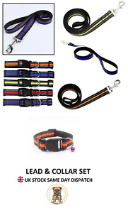 Reflective Dog Collar & Lead Set Adjustable Nylon Puppy Collars Leads Leash Set