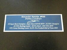 Emmitt Smith Autograph Nameplate Dallas Cowboys Helmet Photo Football Jersey