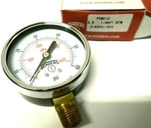 """Winters Gauge 2-1/2"""" Face Steel Case 0-60 PSI 1/4"""" NPT Brass Lower PEM213"""