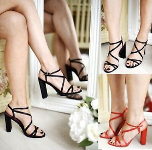 LADIES WOMENS PERSPEX STRAPPY SANDALS STILETTO HIGH HEELS BUCKLE PARTY SHOES SZ