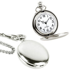 Pocket Watch Chain Quartz Pocketwatch Time Mechanical Wind Polish Silver NEW