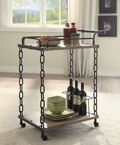 Acme Jodie Serving Cart in Rustic Oak and Antique Black Finish 98172