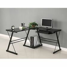 LAPTOP COMPUTER WORKSTATION DESK GLASS OFFICE FURNITURE LAMP GPS PS3 HD TV TABLE
