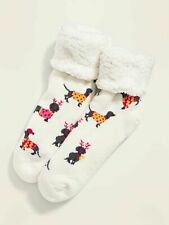 Women's Dachshund White Sherpa Slipper Socks Christmas Holiday NWT