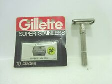Vintage Gillette Adjustable Safety Razor Code Date L 2 with 10 Blade New Refill