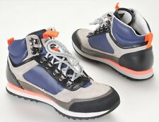 Barbour Highlands Mens Gray Navy Coral Leather Hiking Boots Size 8 NEW