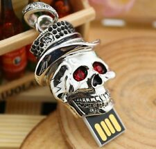Skull with hat 16GB USB 2.0 flash drive memory stick necklace pendant