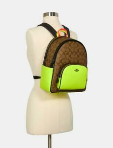 Coach XL Court Backpack Color Block Neon Yellow Signature Purse Book Bag $398