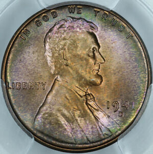 1941-D PCGS MS67RB Rainbow Toned Lincoln Cent 80457924