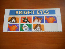 USPS STAMPS - 7 BRIGHT EYES  USA 32 - dog/cat/fish/hamster/parrot -free shipping