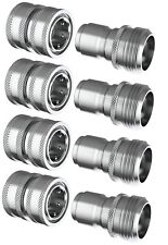 Stainless Steel Garden Hose Quick Connect Set 4 Female Qc X 4 Male Plugs 4x4