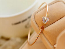 Crystal Heart Charm Bracelet Jewelry gift Fashion Women Gold Plated Bangle Love