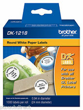 "Brother DK1218 1"" Round White Paper Labels for QL550, QL-550 label printers"