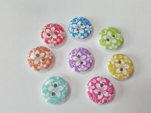 """10 Wood Floral Buttons 15mm (5/8"""") Flower Buttons for Girls Clothing and Crafts"""