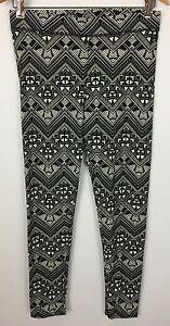 Victoria's Secret Pink Black Ivory Aztec Geometric Print Leggings Size L
