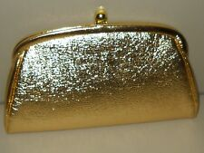 Gold Lame' Clutch Purse Chain Handle Prom Formal Evening Wear Vintage Glamour