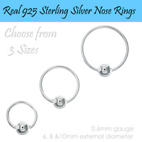 Real Genuine 925 Sterling Silver Nose Ring Small Split 3mm Ball 6mm 8mm 10mm For