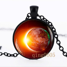Solar Eclipse Necklace photo Glass Dome black Chain Pendant Necklace wholesale